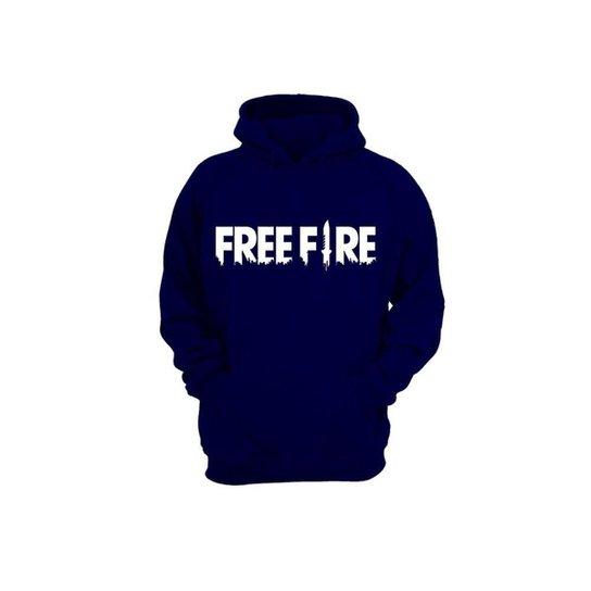 Moletom Algodão Slim Masculino Free Fire Capuz Conforto - Azul Escuro
