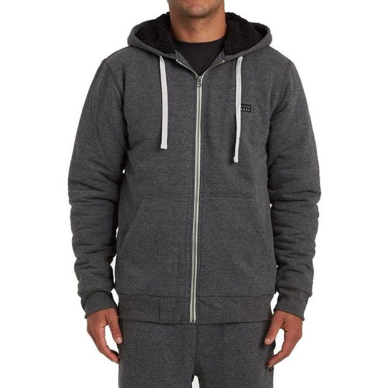 Moletom Billabong Aberto All Day Sherpa Masculino - Cinza