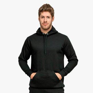 Moletom Blusão Masculino Básico Liso Algodão Com Capuz e Bolso