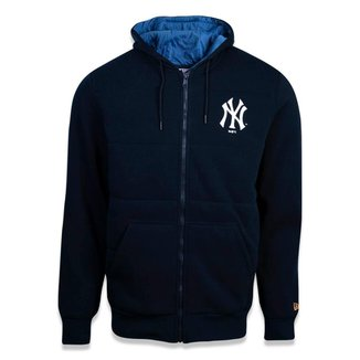 MOLETOM CANGURU ABERTO NEW YORK YANKEES MLB MARINHO NEW ERA
