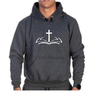 Moletom Canguru Bíblia Cruz Bolso Punho Capuz Cordão Casual