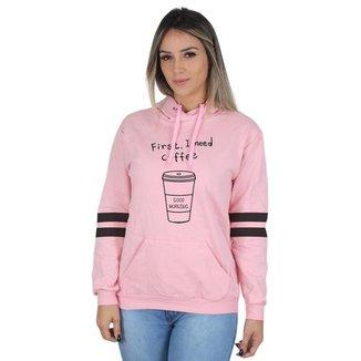 Moletom Canguru Coffee Feminino Estampado Capuz Conforto