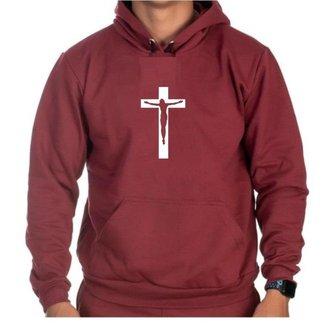 Moletom Canguru Cruz Jesus Bolso Frontal Capuz Cordão Casual