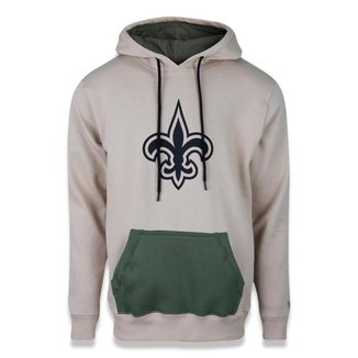 MOLETOM CANGURU FECHADO NFL NEW ORLEANS SAINTS MILITARY LOGO KAKI NEW ERA