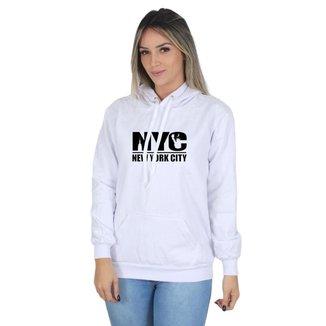 Moletom Canguru New York City Feminino Capuz Estampa Macio