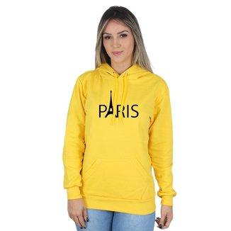 Moletom Canguru Paris Feminino Capuz Estampa Macio Conforto