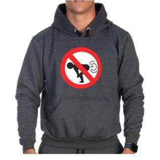 Moletom Canguru Proibido Bolso Punho Capuz Cordão Casual