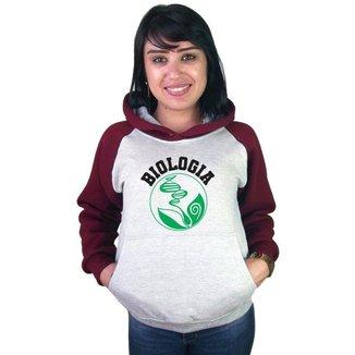 Moletom Canguru Raglan Faculdade Curso Biologia Feminino