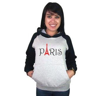 Moletom Canguru Raglan Paris Feminino