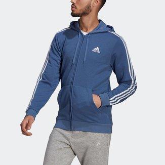 Moletom Capuz Zíper Essentials 3-Stripes Adidas