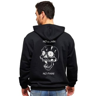 "Moletom Casual Canguru Estampado Caveira ""No Brain"" MAH MP01 Masculino"