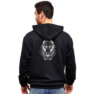 Moletom Casual Canguru Estampado Macaco Astronauta MAH MP01 Masculino