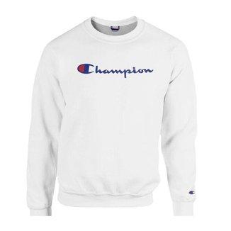 Moletom Champion Felpado Gola Careca Script Logo Cinza