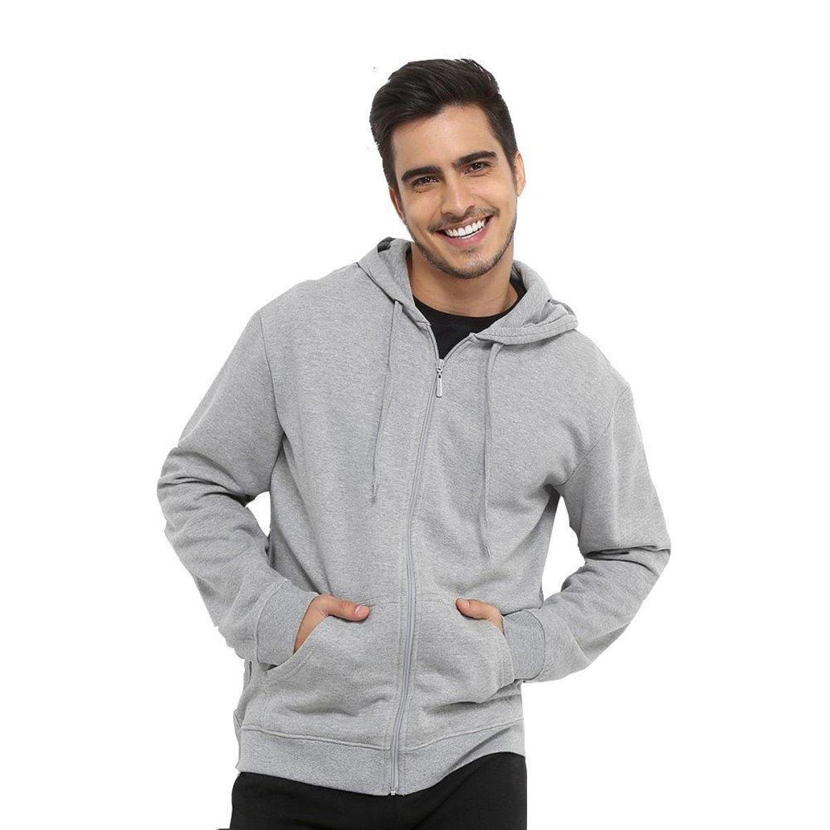 21710e3e7b2b0 Moletom Clik da Moda Zíper Capuz Bolso Masculino - Compre Agora ...