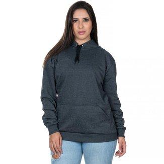 Moletom Club 21 Blusa de Frio Canguru Flanelado Casual Liso Feminino