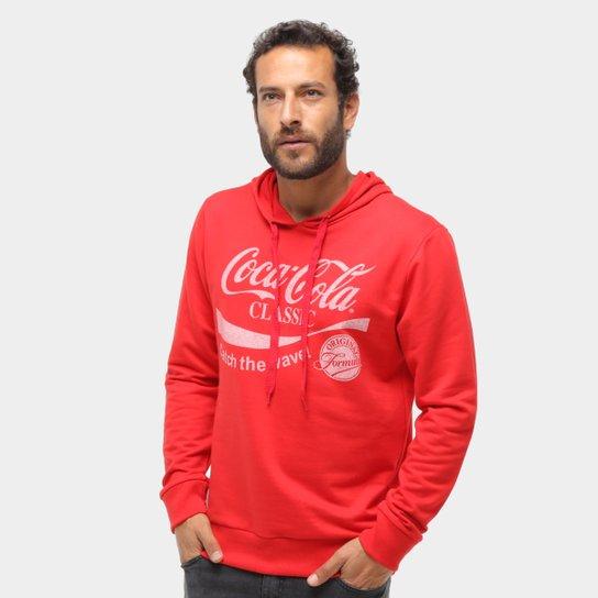 Moletom Coca-Cola Clássic Com Capuz Masculino  - Vermelho