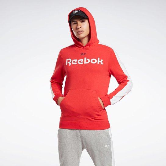 Moletom com Capuz Logo Bolso Slim Fit Reebok - Vermelho