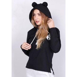 Moletom Com Capuz Orelhinha Panda Preto Gang Feminino