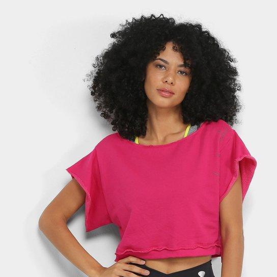 Moletom Cropped Colcci Fitness Colors Feminino - Rosa Escuro