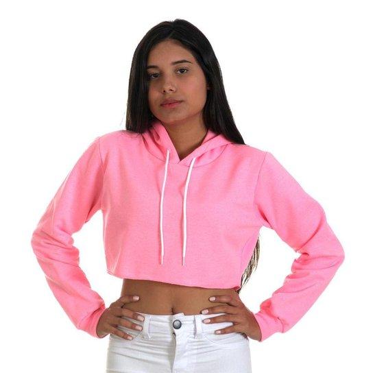 Moletom Cropped com Capuz Use Thuco Liso Neon - Rosa