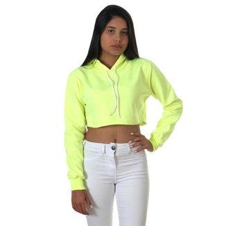 Moletom Cropped com Capuz Use Thuco Liso Neon
