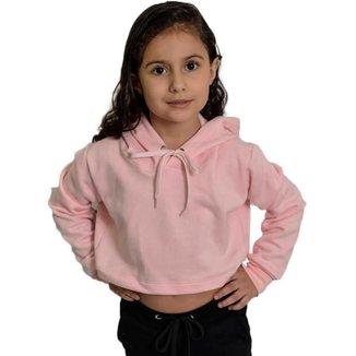 Moletom Cropped Infantil Básica Capuz Lisa Macia Confortável