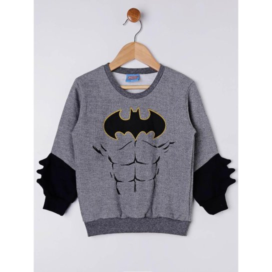 Moletom Fechado Batman Infantil Masculino - Cinza