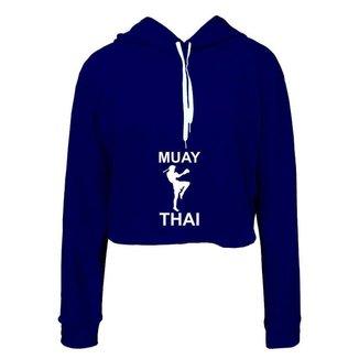 Moletom Feminino Cropped  Capuz Muay Thai Moderno Casual