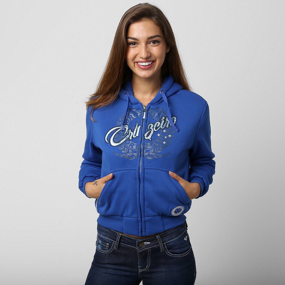 cadc536a4 Moletom Feminino Cruzeiro c  Capuz - Compre Agora