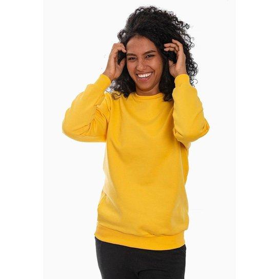 Moletom Feminino Fechado Liso Com Punho - Amarelo