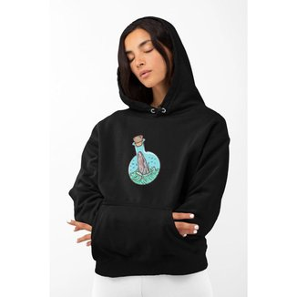 Moletom Feminino GinTropical Baleia em algodão com capuz