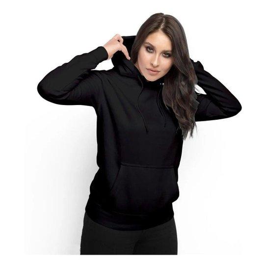 Moletom Feminino Liso Abrigo Inverno Blusa Casaco com Capuz - Preto