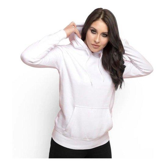 Moletom Feminino Liso Abrigo Inverno Blusa Casaco com Capuz - Branco