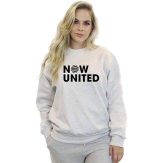 Moletom Feminino Sem Capuz Careca Sem Bolso Basico Estampa Now United