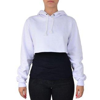 Moletom Feminino Top Cropped Liso Capuz Conforto