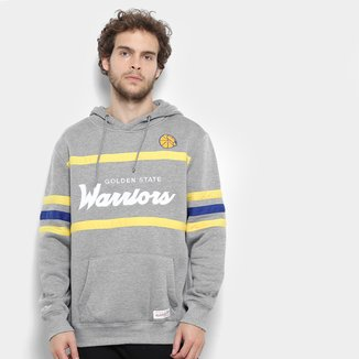 Moletom Golden State Warriors Mitchell & Ness NBA Canguru Masculino