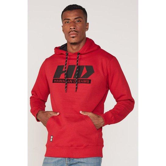Moletom HD Fechado Com Capuz Masculino - Vermelho