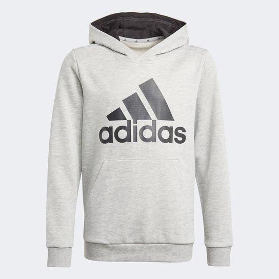Moletom Infantil Adidas Big Essentials Capuz Masculino - Cinza+Preto