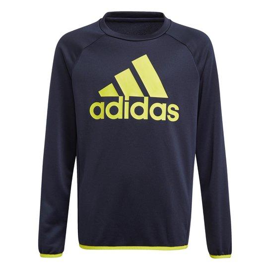 Moletom Infantil Adidas Essentials Masculino - Marinho+Branco