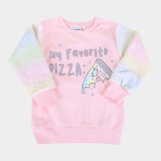 Moletom Infantil Fakini Peluciado Tie Dye Unicórnio Feminino