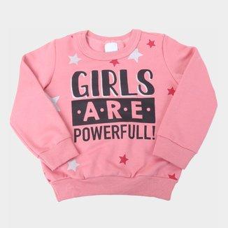 Moletom Infantil Malwee Peluciado Girls Are Powerful Feminino