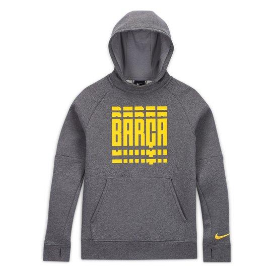 Moletom Juvenil Barcelona Nike GFA Canguru - Cinza+Amarelo