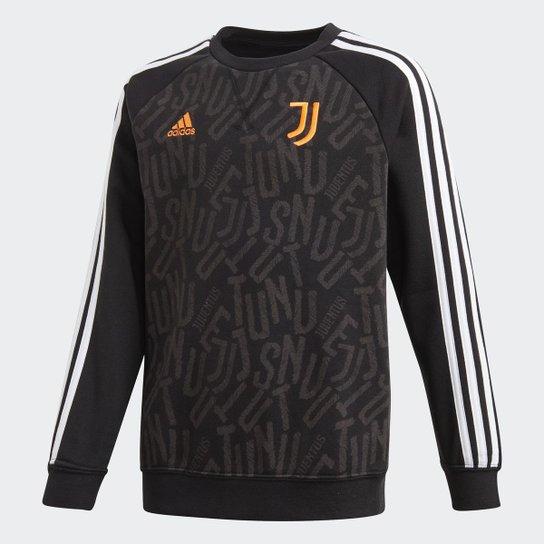 Moletom Juvenil Juventus Adidas Crew Sweat Adidas - Preto+Branco