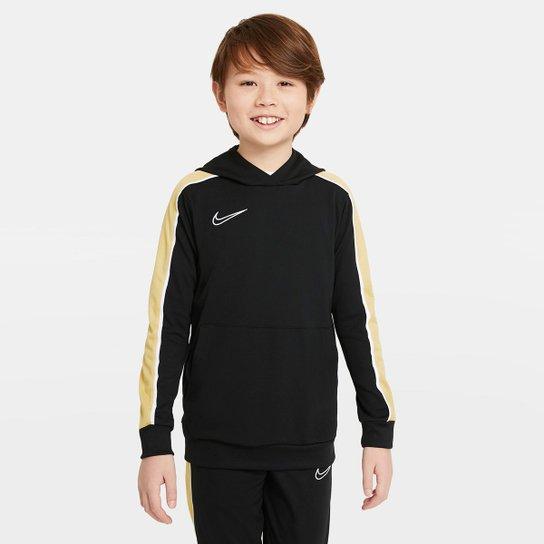 Moletom Juvenil Nike Dri-Fit Academy Canguru - Preto+Dourado