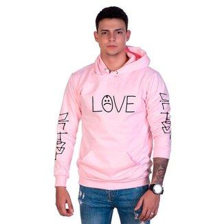 Moletom  Lucas Lunny Algodão Love Bolso Canguru Capuz Masculino