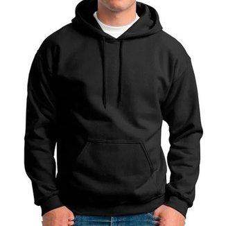 Moletom Masculino e Feminino Canguru Liso Preto Blusa de Frio Com capuz