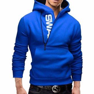 Moletom Masculino Slim Swag Azul Blusa Estilosa