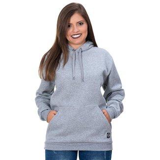 Moletom Moleton blusa de frio Canguru Feminino cinza casaco blusão