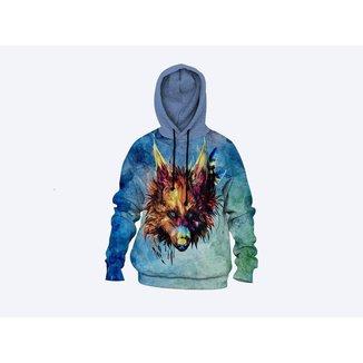 Moletom Moleton blusa de frio Canguru Unissex casaco blusão LOBO AZUL
