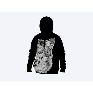Moletom Moleton blusa de frio Canguru Unissex casaco blusão LOBO BRANCO